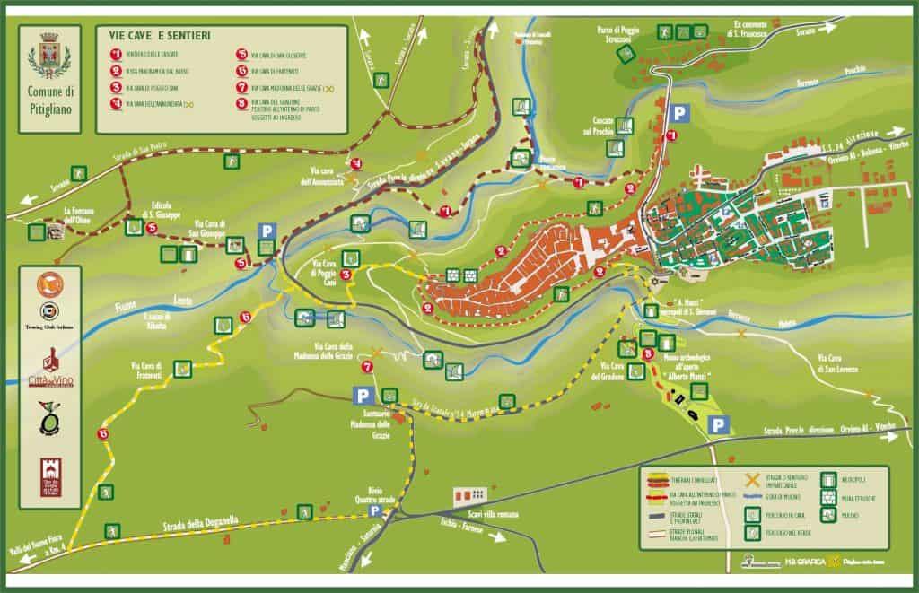 Cartina delle Vie Cave di Pitigliano