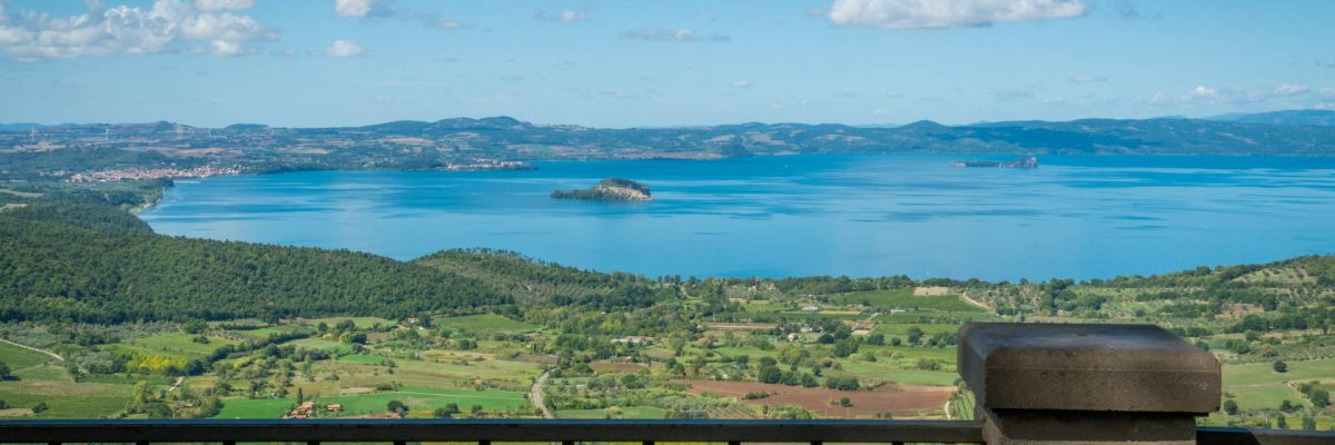 Panoramic sight in Montefiascone over the Bolsena Lake, province of Viterbo, Lazio, central Italy.